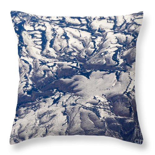 Aerial Throw Pillow featuring the photograph Snowy Landscape Aerial by Carol Groenen