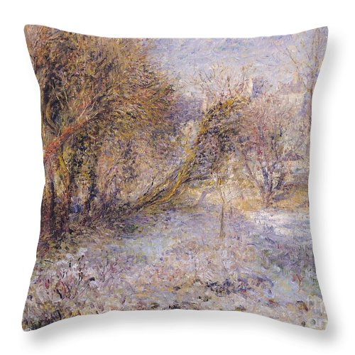 Snowy Throw Pillow featuring the painting Snowy Landscape by Pierre Auguste Renoir
