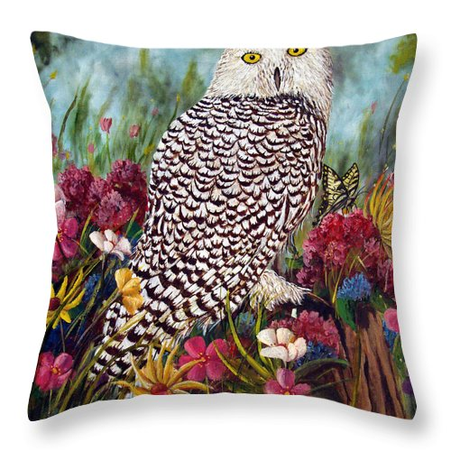 Owl Throw Pillow featuring the painting Snowy Owl by David G Paul