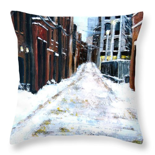 Ny City Throw Pillow featuring the painting Snowy Street by Leonardo Ruggieri