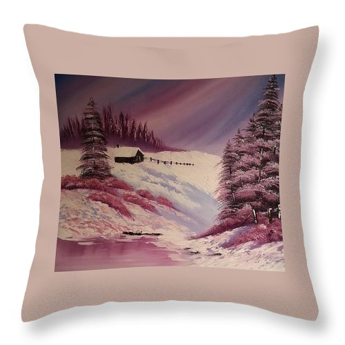 Landscape Throw Pillow featuring the painting Snowy Summer by Nadine Westerveld