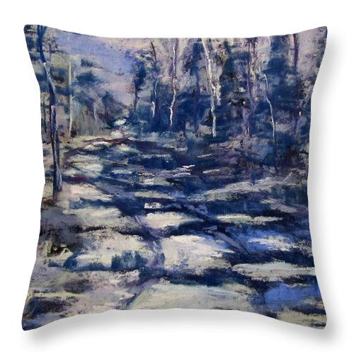 Snow Throw Pillow featuring the pastel Snowy Trail by Barbara O'Toole