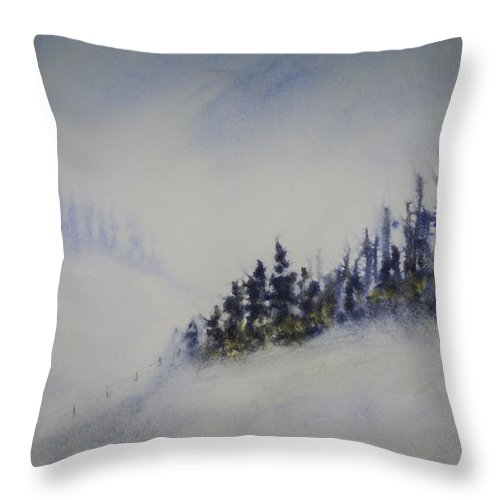 Landscape Throw Pillow featuring the painting Snowy Winter by Terry Ann Morris