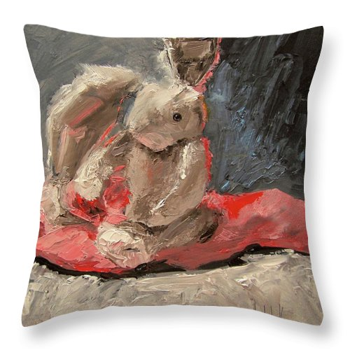 Still Life Throw Pillow featuring the painting Snuggle Bunny by Barbara Andolsek