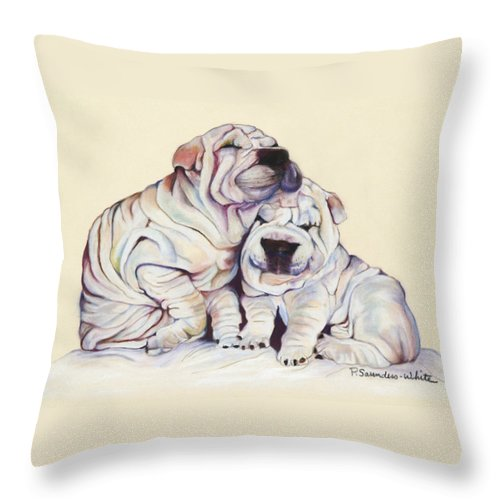 Dog Painting Throw Pillow featuring the pastel Snuggles by Pat Saunders-White