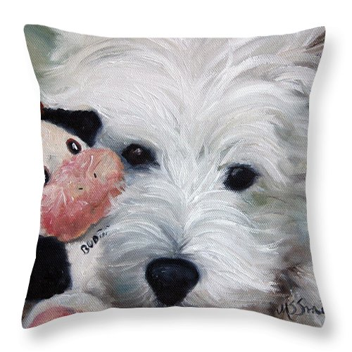 Art Throw Pillow featuring the painting Snuggling Up To Budda by Mary Sparrow