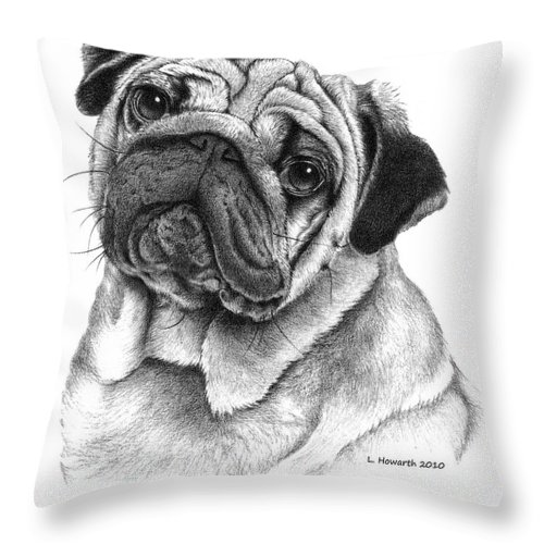 Pug Dog Throw Pillow featuring the drawing Snuggly Puggly by Louise Howarth