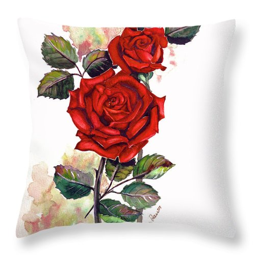 Red Rose Paintings Throw Pillow featuring the painting So Red by Karin Dawn Kelshall- Best