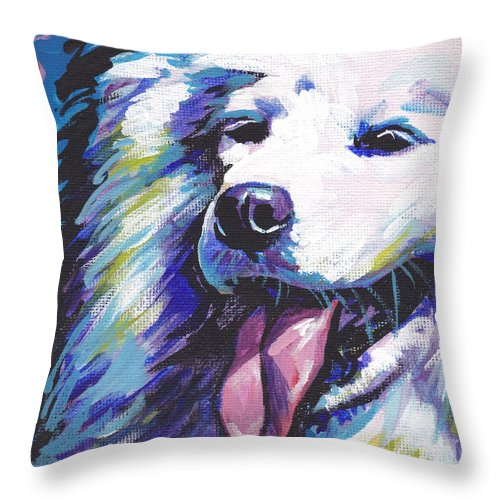 Samoyed Throw Pillow featuring the painting So Sammy by Lea S