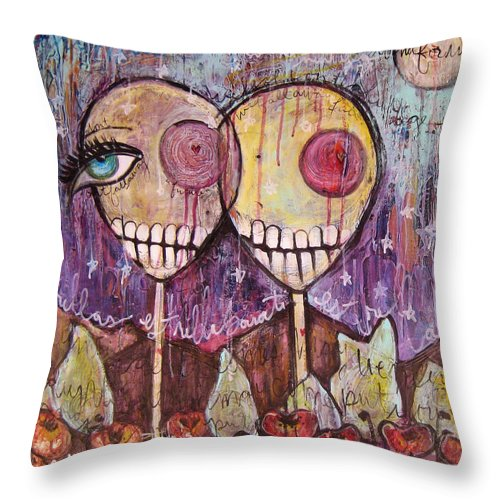 Skulls Throw Pillow featuring the painting So This Is The New Year Estrellas And All by Laurie Maves ART