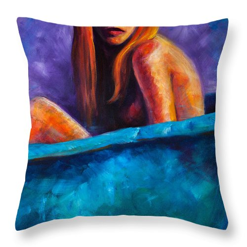 Nude Throw Pillow featuring the painting Soak by Jason Reinhardt