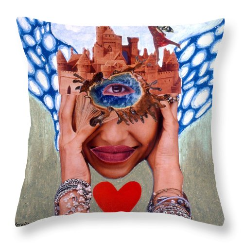 Sandcastle Throw Pillow featuring the drawing Soap Scene # 12 Sandcastle Shrine by Minaz Jantz