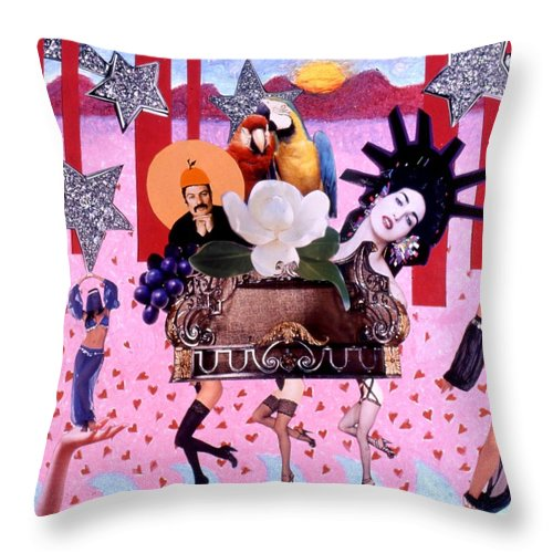 Collage Throw Pillow featuring the drawing Soap Scene # 28 You Have Seen That Movie Too by Minaz Jantz