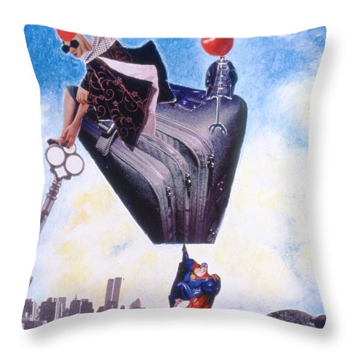 Twin Towers Throw Pillow featuring the drawing Soap Scene #11 Seek The Love Within by Minaz Jantz