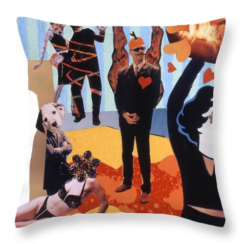 Hearts Throw Pillow featuring the drawing Soap Scene #18 Burn In Heaven At The Club Relish by Minaz Jantz