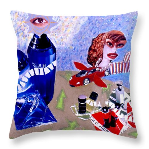City Throw Pillow featuring the drawing Soap Scene #2 City of Dreams by Minaz Jantz
