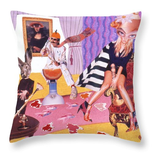 Mona Lisa Throw Pillow featuring the drawing Soap Scene #20 Galleria Symbiosis by Minaz Jantz