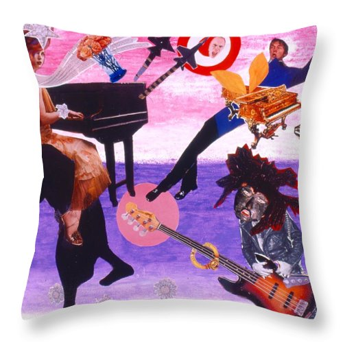 Grand Piano Throw Pillow featuring the drawing Soap Scene #21 Beggar Belief by Minaz Jantz