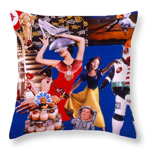 Surreal Throw Pillow featuring the drawing Soap Scene #23 Oscar's Kiss Of Success by Minaz Jantz