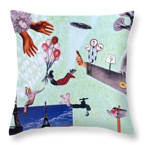 Eiffel Tower Throw Pillow featuring the drawing Soap Scene #27 Zelestial Headquarters by Minaz Jantz
