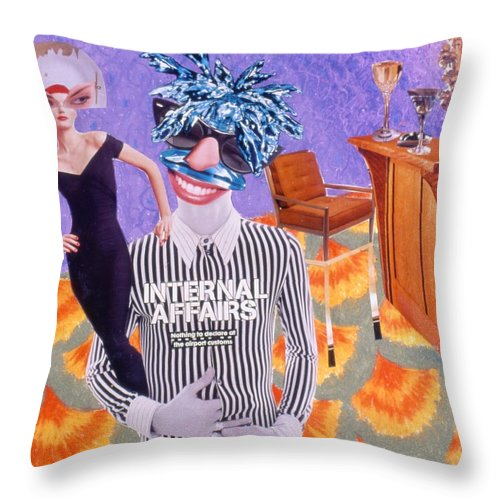 Woman Throw Pillow featuring the drawing Soap Scene #8 Internal Affairs Club by Minaz Jantz