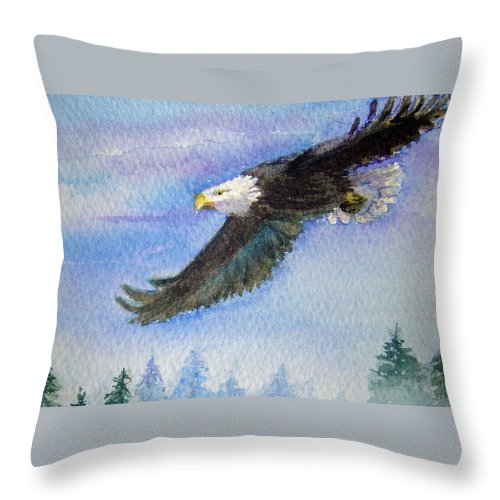 Eagle Throw Pillow featuring the painting Soaring Eagle by Katherine Berlin