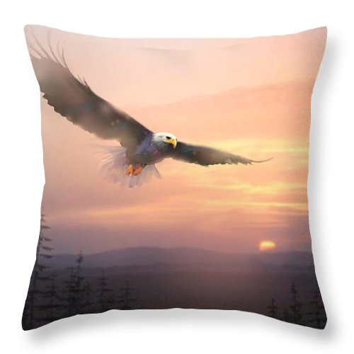 Eagle Throw Pillow featuring the painting Soaring Free by Paul Sachtleben