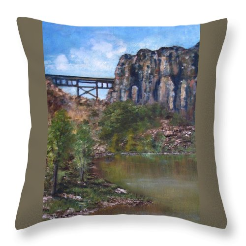 Landscape Throw Pillow featuring the painting S.o.b Caynon by Darla Joy Johnson