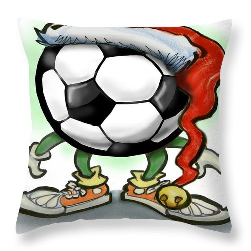 Soccer Throw Pillow featuring the greeting card Soccer Christmas by Kevin Middleton