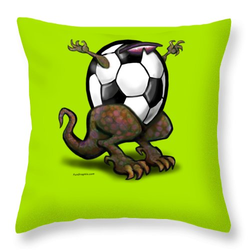 Soccer Throw Pillow featuring the digital art Soccer Saurus Rex by Kevin Middleton