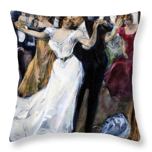 1900 Throw Pillow featuring the photograph Society Ball, C1900 by Granger