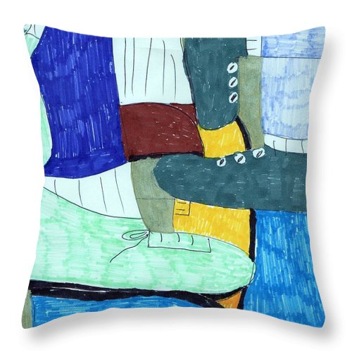 Socks And Shoes Collage Throw Pillow featuring the mixed media Socks And Shoes by Elinor Helen Rakowski