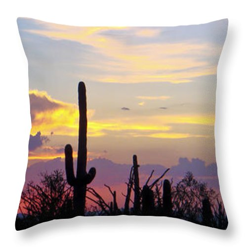 Arizona Throw Pillow featuring the photograph Soft Arizona Sunset Panoramic by Tessie O'Talley