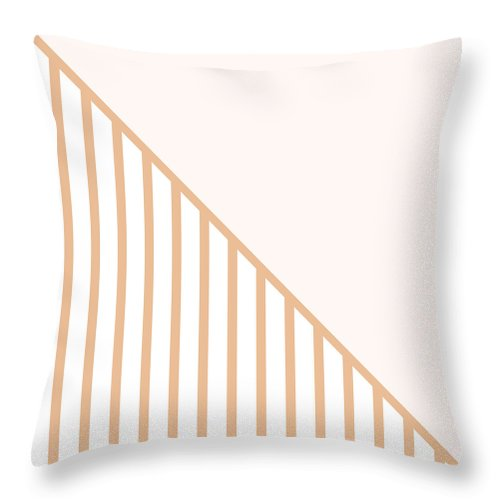 Pink Throw Pillow featuring the digital art Soft Blush and Coral Stripe Triangles by Linda Woods