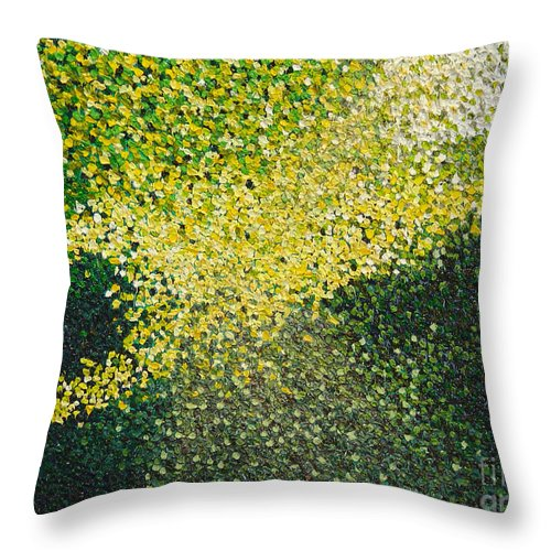 Abstract Throw Pillow featuring the painting Soft Green Light by Dean Triolo