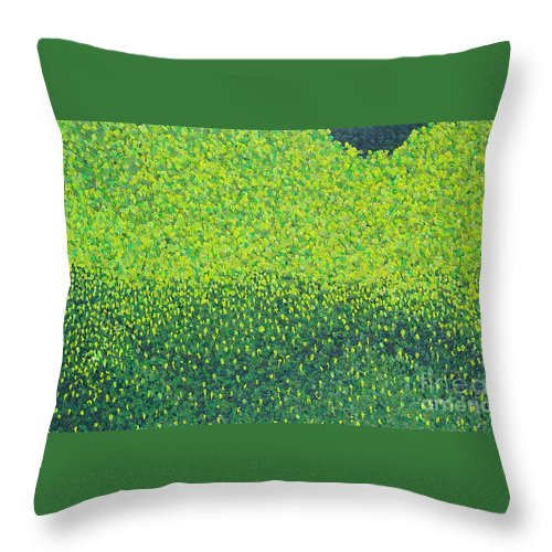 Abstract Throw Pillow featuring the painting Soft Green Wet Trees by Dean Triolo