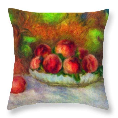Soft Peaches Still Life Throw Pillow featuring the painting Soft Peaches Still Life by Georgiana Romanovna