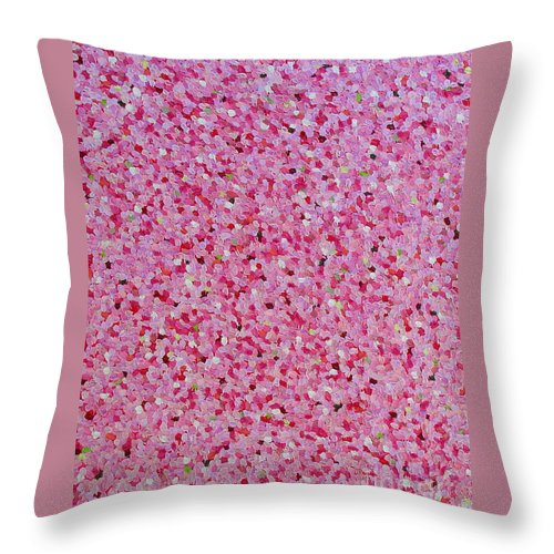 Abstract Throw Pillow featuring the painting Soft Red Light by Dean Triolo