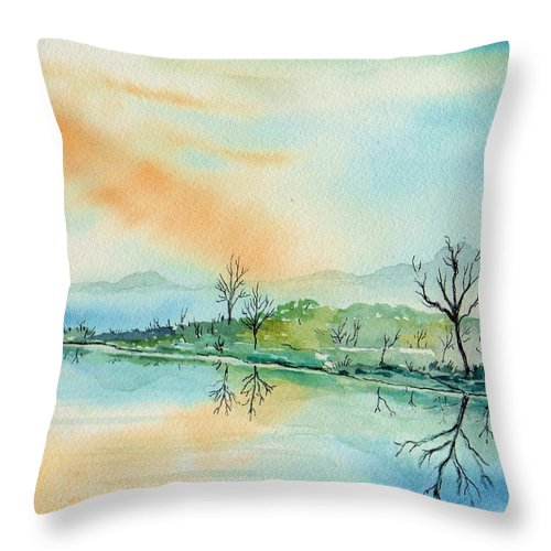 Landscape Throw Pillow featuring the painting Soft Reflections by Brenda Owen