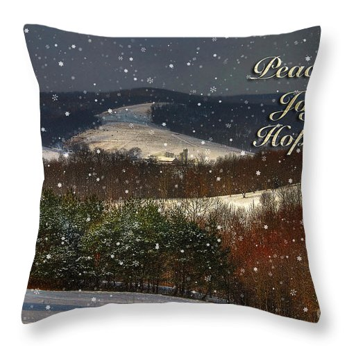 Christmas Throw Pillow featuring the photograph Soft Sifting Christmas Card by Lois Bryan