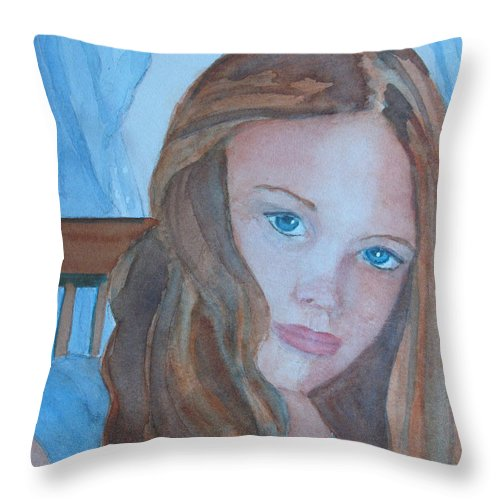 Girls Throw Pillow featuring the painting Soft Steel by Jenny Armitage