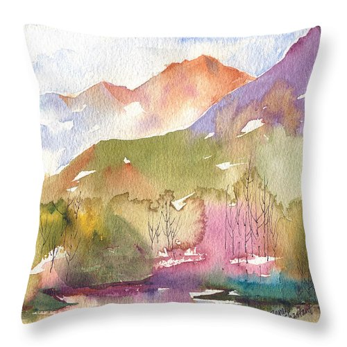 Landscape Throw Pillow featuring the painting Soft Tree Landscape by Renee Chastant