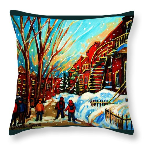 Montreal Throw Pillow featuring the painting Softly Snowing by Carole Spandau