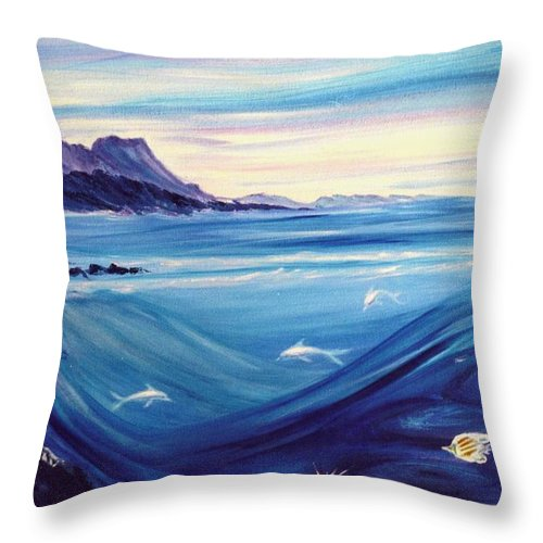 Islands Throw Pillow featuring the painting Sokehs Dawn by Dina Holland