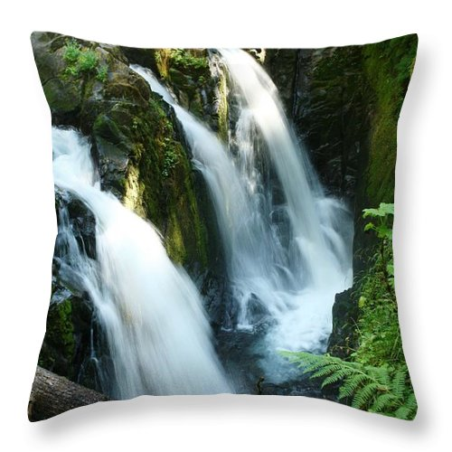 Waterfall Throw Pillow featuring the photograph Sol Duc Falls by Idaho Scenic Images Linda Lantzy