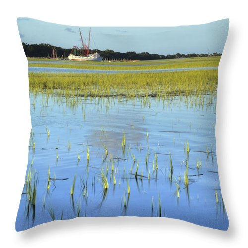 Sol Legare Throw Pillow featuring the photograph Sol Legare Shrimp Boat by Dustin K Ryan
