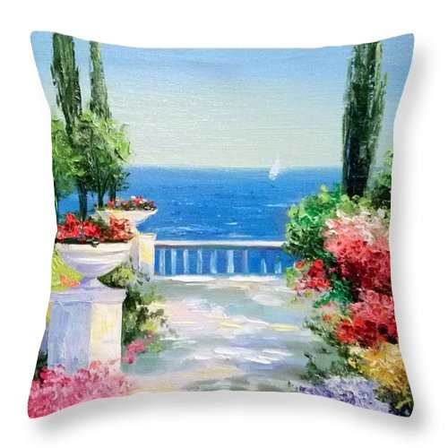 Solar Embankment Throw Pillow featuring the painting Solar Embankment by Olha Darchuk