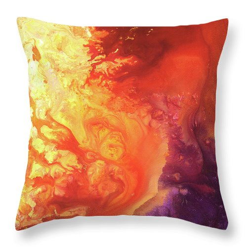 Sun Throw Pillow featuring the painting Solar Flare by Sherry Shipley