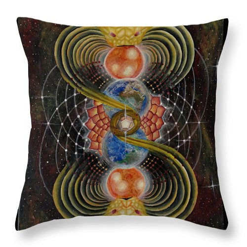 Visionary Throw Pillow featuring the painting Solar Prayer by Justin Struble