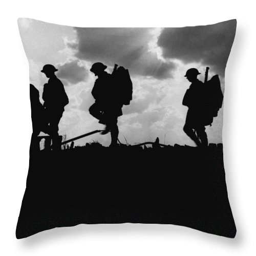 Military Throw Pillow featuring the photograph Soldier Silhouettes - Battle Of Broodseinde by War Is Hell Store